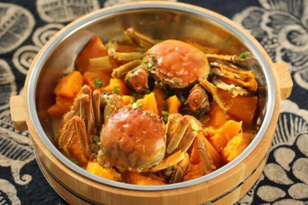 解馋鲜美的扇贝烧螃蟹v扇贝南瓜图图片
